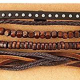 Mischen von 4 Braun Wickeln um Strap Armband Herren Damen, Multi-Strang Holz Perlen mit Nieten Lederarmband - 2