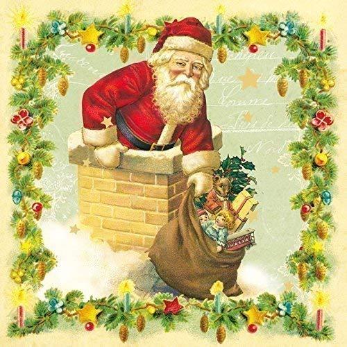Noël Père Noël Cheminée Vert 3-ply 20 Serviettes en Papier Serviettes 13 \