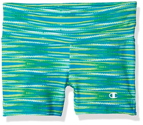 Champion Little Girls Color Block Bike Short, Atomic Blue, X-Large (Spandex Champion Shorts)