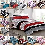 Buymax Bettwäsche 2 Teilig, Renforce-Baumwolle, Reißverschluss, 155x220 cm, Rot Weiß, Modern Art