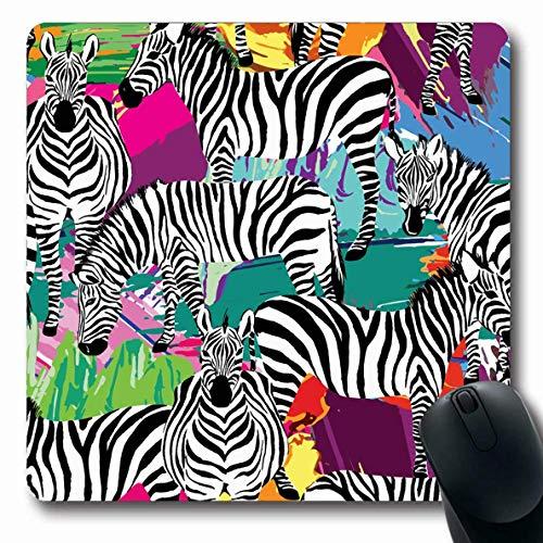 Natur / Schwarz Canvas An (Luancrop Mousepad Oblong Summer Jungle Schwarz Weiß Zebra Canvas Tropic Pattern Natur Aquarell Safari Design Büro Computer Laptop Notebook Mauspad, Rutschfester Gummi)