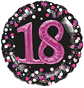 Amscan International 3597401 - Globo de Papel de Aluminio para cumpleaños (18 Unidades), Color Rosa Brillante