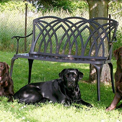 Lazy Susan – CLAIRE Rechteckiger Garten Beistelltisch mit 1 APRIL Gartenbank und 2 APRIL Stühlen – Gartenmöbel Set aus Metall, Antik Bronze - 9