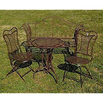 gartenm bel garnitur tisch 2x stuhl garten gartengarnitur antik stil metall set. Black Bedroom Furniture Sets. Home Design Ideas