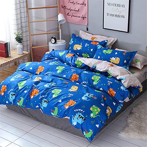 DOTBUY Parure de lit, 3 pièces Housse de Couette Microfibre Confortable Ensemble de Literie Chambre à Coucher Élégant Classique Lit Imprimé Taies d'oreiller (240x220cm, Dinosaure - Bleu)