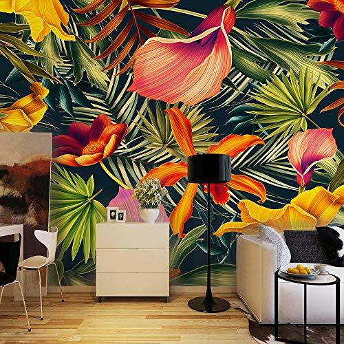 Benutzerdefinierte Wandbild Tropischer Regenwald Pflanze Blumen Bananenblätter Kulisse Gemalt Wohnzimmer Schlafzimmer Große Wandbild Tapete, 250 * 175 cm -