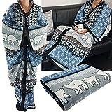 PROHEIM Kuschel-Decke Cozy Bears mit Ärmeln 150 x 170 cm TV-Decke/Ärmel-Decke aus Microfaser kuschelige und wärmende Wohn-Decke, Farbe:Blau
