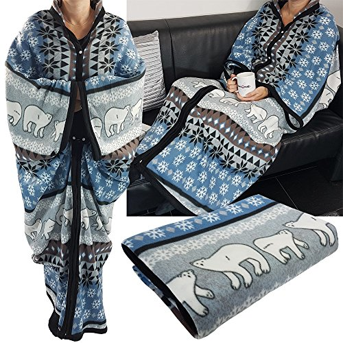 PROHEIM Kuscheldecke Cozy Bears mit Ärmeln 150 x 170 cm TV-Decke/Ärmel-Decke aus Microfaser kuschelige und wärmende Wohn-Decke, Farbe:Blau