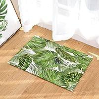 Plantes exotiques tropicales hawaïennes Decor grenouille sur Monstera et  feuilles de palmier Tapis de bain anti 1bdd3235892