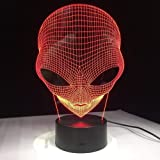 3D Illusion Lamp Led Night Light 1 Piece 7 Colors Changing Hologram Pop-Eyed Alien Shape Acrylic with Touch Switch Luminary B
