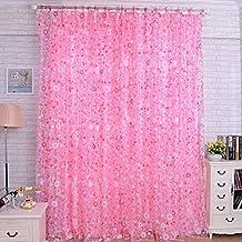 Floral de la sala dormitorio Balcón pantallas divisorias gasa Cortinas - rosa