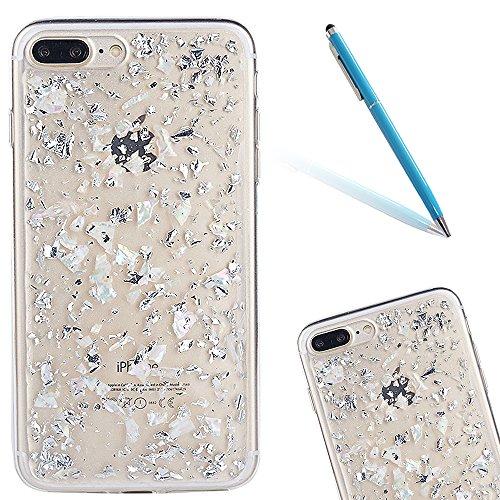 """iPhone 7Plus Schutzhülle, iPhone 7Plus Softcase, CLTPY Luxus Bling Sparkly Kristall TPU Handytasche mit Fließen Herzmuster für 5.5"""" Apple iPhone 7Plus (Nicht iPhone 7) + 1 x Stift - Rosa 1 Weiß"""