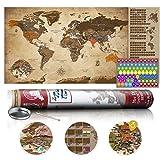 murando - Rubbelweltkarte englisch XXL - 100x50 cm - Weltkarte zum Rubbeln mit Länder-Flaggen - Laminiert - Design Geschenk-Tube - Viele Extras - Rubbel Landkarte Poster zum freirubbeln - Geschenk Idee - World Map - k-A-0228-o-b