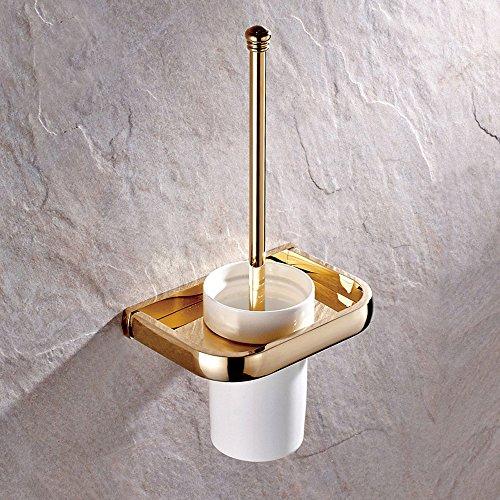 Weare Home Hochwertig Retrio Modern alle Gold Kupfer Messing Badezimmer Accessoires Einzeln Toilettenbürstebhalter mit Keramik Toilettenbürstenbecher