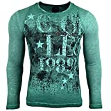 Rusty Neal Herren Langarm Longsleeve T-Shirt Used-Look Sweatshirt R-10108, Farbe:Grün;Größe:M