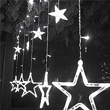 DulceCasa 2.3m x 0.6 - 1m Guirnaldas Estrella 168 Bombillas Lámpara LED decorativo Impermeable Fiesta Navidad Boda Decoración Árbol Cortina Luminosas Hadas luz Inicio Partido - Blanco Frío