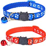 2 Pack Cat Collars with Bell, Suitable For All Domestic Cats, Let Your Cat Look Stylish With These Paw Print Design Collars – Includes A Metal Clip To...