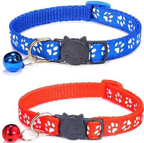 ZACAL Cat Collar with Bell and Safety Quick Release Buckle, Suitable and Adjustable To Fit All Domestic Cats, Available in Various Colour Sets, Pack of 2 Collars