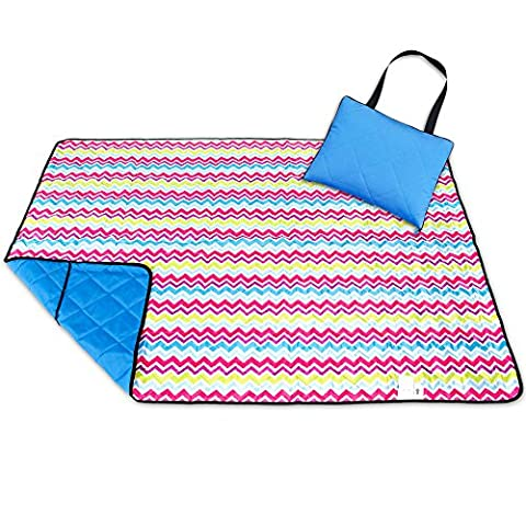 Roebury Picnic Blanket - Portable Outdoor Mat Folds into Tote Bag - Water-Resistant, Sandproof - Large Rug Perfect for Camping, Beach, Festivals, Kids & Babies (Wave Design)
