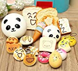 #3: Kid Baby Random Lot 18Pcs Hanging Squishy Bread/Cake/Panda/Buns/Donut Phone Straps - Relax your mind