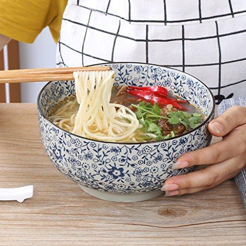 Cuenco de cerámica para sopa de cerámica de estilo japonés de HR, color azul y blanco, de gran capacidad, para frutas, pastas, cereales, aperitivos, sopas, cuencos creativos de cerámica