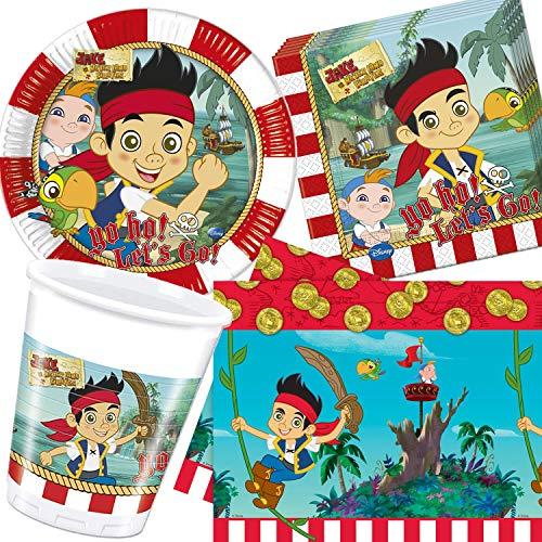 Procos/Carpeta 54-TLG. Party-Set * Jake & NIMMERLAND Piraten * mit Teller + Becher + Servietten + Tischdecke | Deko Kinder Geburtstag Motto Pirat Freibeuter Disney (Jake Nimmerland-party Und Die)
