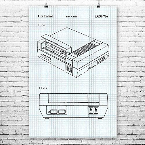 Patent Earth Nintendo NES Video Game System Poster Druck Classic Nintendo Nintendo Spielkonsole, Retro Gaming, Gamer Geschenk, Videospiele 12