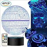 oannao Star Wars 3D Lampe Spielzeug - Star Wars Geschenke Nacht Licht,4 Styling,7 Farblampen. Fernbedienung Oder Berührung.Dekorative Räume,Star Wars Fans Gifts (4 Stück)