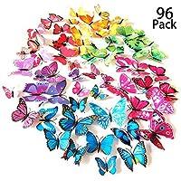 Tomkity 96 Pezzi 8 colori brillanti farfalle 3D adesivi per pareti vari colori decorazione casa stickers murali ( 12 Pezzi verde, blu, viola, rosso, bianco, rosso rosa, giallo, colorato)