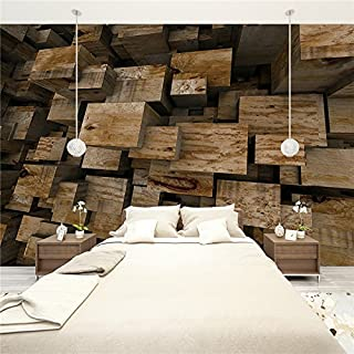 Large 3D Stereo Wallpaper Mural Wooden Board Bedroom TV Background Wall