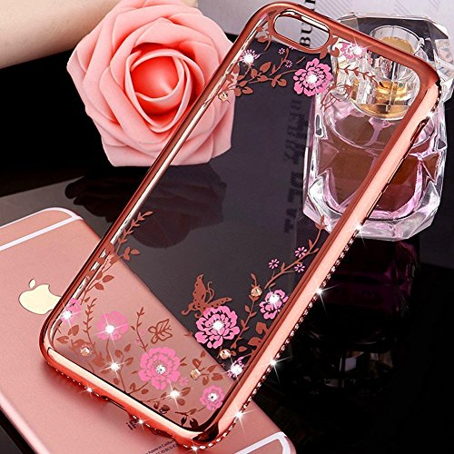 JAWSEU Coque Etui pour iPhone 5/5S/SE,iPhone 5S Plastique Coque Ultra Slim,iPhone SE Hard Case Pailletee Bling Housse Etui,2017 Neuf Luxury Design Femme Homme Fashion Ultra Mince Thin Cristal Clair Co Rose Fleur/Rose Or