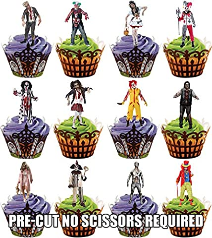PRE-CUT Halloween Evil Clown Party Pack Edible Cupcake Toppers / Cake Decorations (Pack of 36)