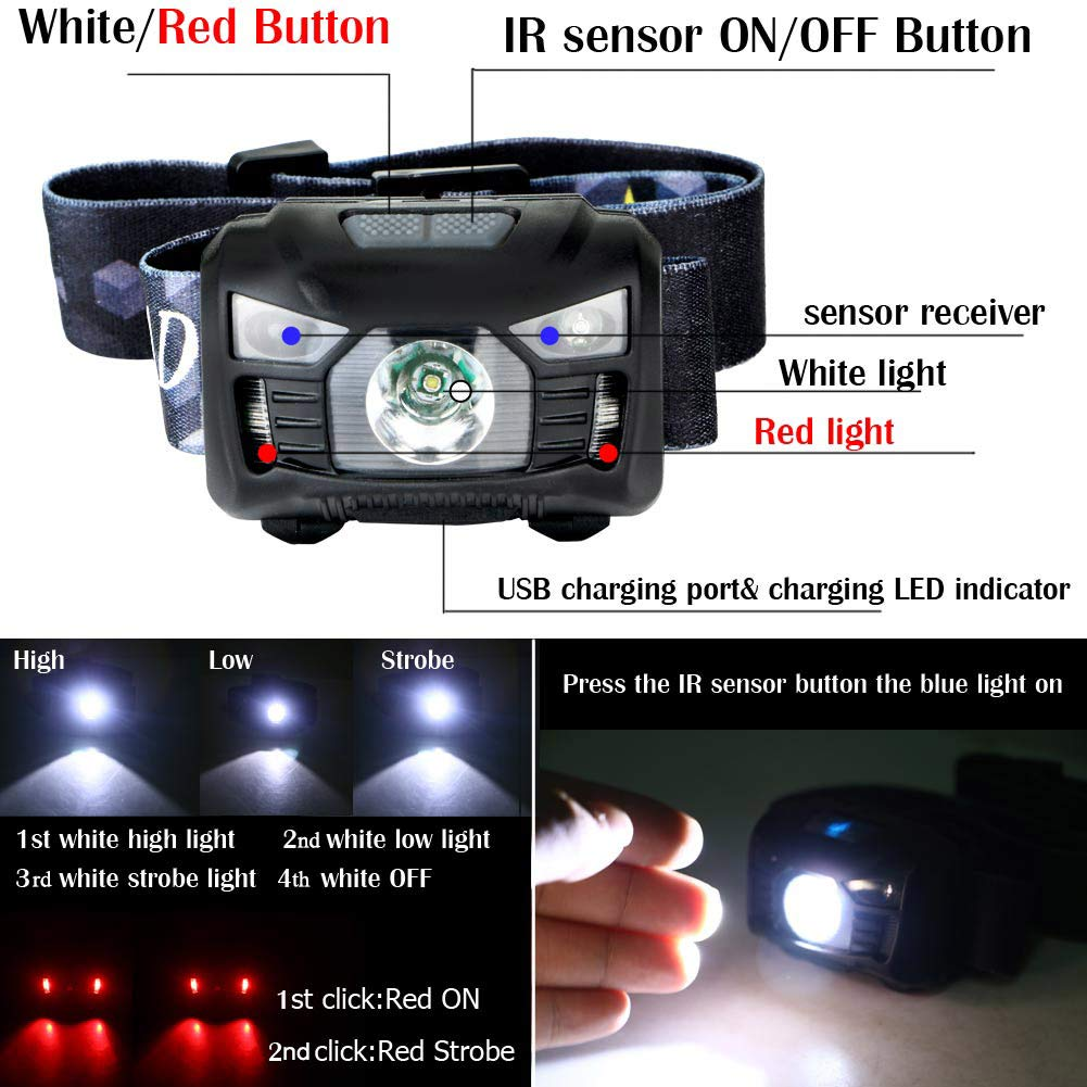 Waterproof USB Charging Red Light Sensor Camping Hiking LED Headlamps Torches