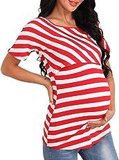 Giorzio Damen Umstandsshirt O-Ausschnitt Still-Shirt Kurzarm Umstands-Top Lagendesign Umstandsmode für Schwangere