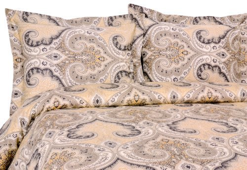 Elite Home Products Milano Paisley Collection 300 Thread Count Sateen 2-Piece Duvet/Sham Set, Twin, Grey by Elite Home - Paisley Twin-set