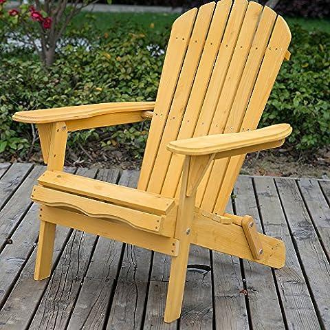 Leisure Zone Life Carver Chaise longue de jardin en bois pliante, fauteuil Adirondack, fauteuil inclinable