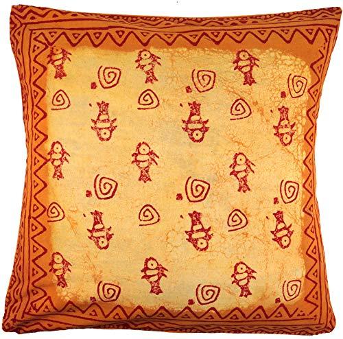 g Blockdruck, Indische Kissenhülle mit Fischen - Gelb, Baumwolle, Größe: 50x50 cm, Zierkissen, Dekokissen, Sofakissen ()