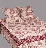 Couvre-lit-boutis-2-places-Toile-de-jouy-bicolore-rouge