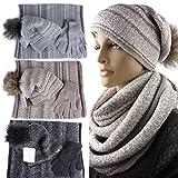 Alma Winterset, Longbeanie mit Pompon, Rundschal, Handschuhe, Verschiedene Farben, One Size