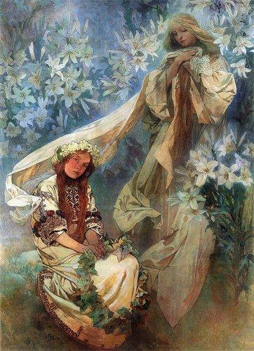 OFA Madonna of The Lilies Alphonse Mucha Art Nouveau Deco Bild Poster Druck
