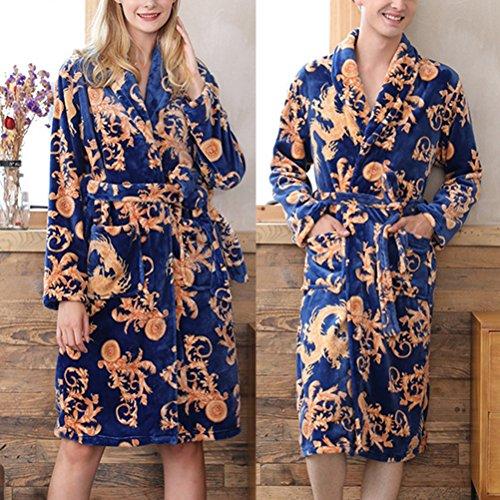 Zhhlaixing Fluffy Soft Flannel Women Night Gowns Pigiama Long sleeves Thick Warm Bath Robes Sleepwear Size L/XL Royal Blue