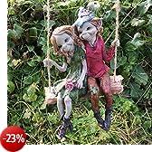 Pixie coppia a dondolo sospesa, scultura da giardino magico in legno e alluminio di alta qualità-Statuetta fata &-Costume da elfo per bambino, altezza 12 cm