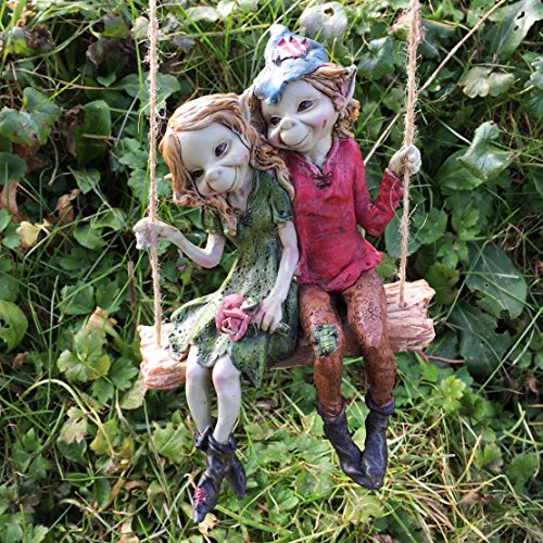 Statuetta raffigurante una coppia di folletti seduti su unaltalena alta qualità decorazione da giardino altezza 12