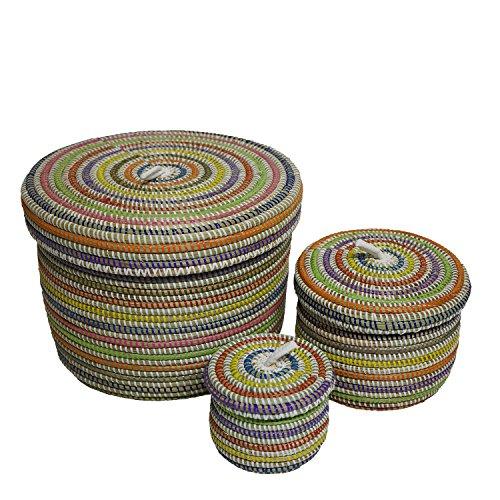 EA Déco Naturel & Design PLBMUL Pauleus Lot de 3 Boîtes Plastique/Paille Multicolore 26 x 26 x 26 cm