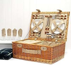 Le Sutton Panier pique-nique et vert Couverture de pique-nique de luxe en osier pour 4personnes pique-nique avec Construit dans le Compartiment refroidisseur et accessoires