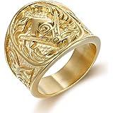 Semplice Anello a Fascia Quadrata in Acciaio al Titanio con Sigillo Piatto Stile Oro 18 carati Argento Placcato Nero per Uomo
