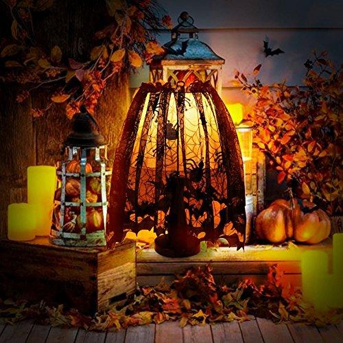(Huanger Halloween Schwarz Fledermäuse Spinnen Lampenschirm Spitze Gothic Stil Lampenschirme Halloween Party Dekorationen)