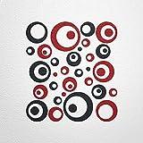 WANDfee® Wandtattoo 50 Retro Kreise AC0710108 Größe Ø 2 x 20 cm, 6 x 15 cm, 10 x 10 cm, 20 x 6 cm, 12 x 3 cm Farbe schwarz dunkelrot