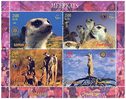Meerkats in various poses Lions and Rotary clubs International souvenir stamp sheet - 4 stamps 2004   Somalia   MNH