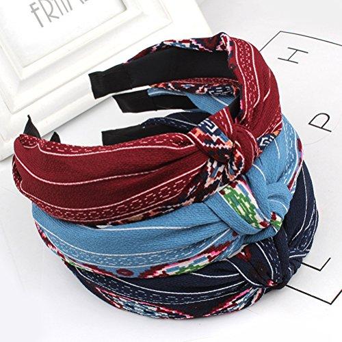 frcolor 3Haar Hoop Stilvolle Tuch Kreuz Knoten Haarband Lady Haar Zubehör für tägliche Dekoration
